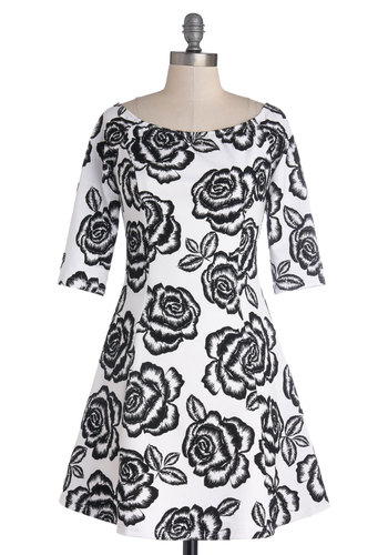 Moonlit Roses Dress - Floral, A-line, 3/4 Sleeve, Good, Boat, Knit, Black, White, Daytime Party, Mid-length