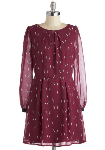 Mice is Right Dress by Sugarhill Boutique - Mid-length, Chiffon, Sheer, Woven, Red, Print with Animals, Exposed zipper, Pleats, Casual, A-line, Long Sleeve, Better, Scoop, International Designer, White