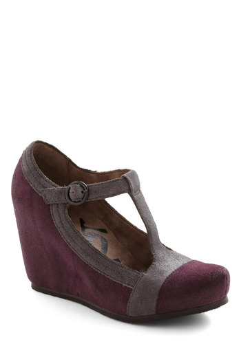 What Makes Me Saunter Wedge - Purple, Solid, Trim, Colorblocking, Wedge, Mid, Leather, Suede, Grey, Party, Platform, T-Strap, Best