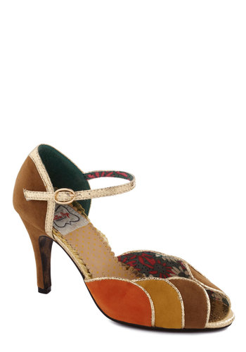 Colorful Complement Heel in Tan by Bettie Page - Tan, Multi, Trim, Mid, Peep Toe, Faux Leather, Orange, Yellow, Party, Daytime Party, Vintage Inspired, 30s, 40s, Colorblocking, Variation, Better