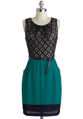 Meet Your Marvelous Mishmash Dress in Teal - Chiffon, Woven, Green, Tan / Cream, Black, Belted, Work, Sheath / Shift, Sleeveless, Good, Scoop, Crochet, Pockets, Variation, Mid-length