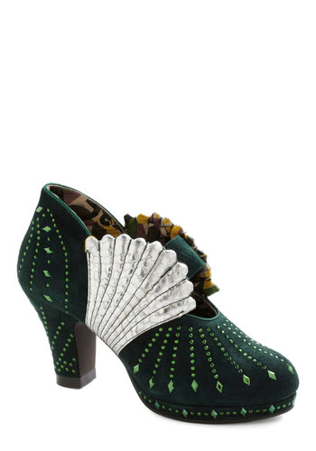 Shell I Compare Thee? Heel by Miss L Fire - Green, Silver, Rhinestones, Scallops, Holiday Party, Luxe, Platform, International Designer, Mid, Party, Cocktail, Vintage Inspired, 20s, Statement