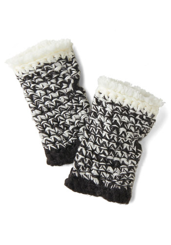 Carriage to Town Glovettes - Fringed, Fall, Winter, Knit, Black, White, Knitted, Folk Art