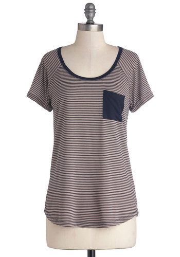 In It to Win It Top - Mid-length, Jersey, Knit, Blue, Tan / Cream, Stripes, Pockets, Casual, Short Sleeves, Scoop, Brown, Short Sleeve