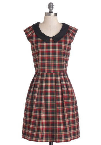 Trusted Tutor Dress - Tan / Cream, Plaid, Pleats, Casual, Vintage Inspired, Scholastic/Collegiate, A-line, Cap Sleeves, Better, Collared, Mid-length, Woven, Multi, Red, Black, Peter Pan Collar, 90s