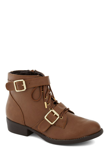 Through the Valley Boot in Chestnut - Tan, Buckles, Steampunk, Low, Lace Up, Safari, Good, Solid, Faux Leather, Variation