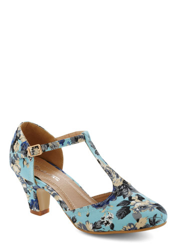 Eat, Bouquet, Love Heel in Morning Glory - Blue, Multi, Floral, Daytime Party, Fairytale, French / Victorian, Mid, Exclusives, Good, T-Strap, Valentine's