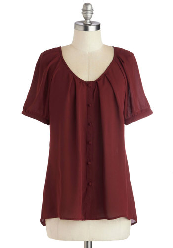 Inspiring Poetry Top - Red, Solid, Buttons, Work, Short Sleeves, Better, Mid-length, Chiffon, Sheer, Woven, Casual, Scoop, Red, Short Sleeve