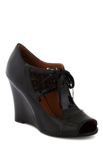 Good Old Glaze Wedge - Black, Solid, Party, Girls Night Out, High, Good, Wedge, Lace Up, Peep Toe, Faux Leather