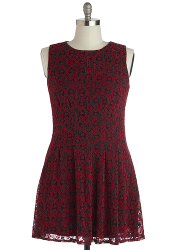 So Indie You Dress in Plus Size - Woven, Red, Black, Print, Party, A-line, Sleeveless, Better, Crew, Winter