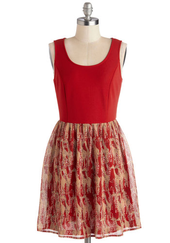 Urban Sanctuary Dress - Red, Tan / Cream, Print with Animals, Casual, Twofer, Tank top (2 thick straps), Good, Scoop, Short, Knit, Woven