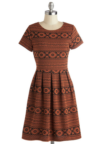 Rust Can't Get Enough Dress - Mid-length, Knit, Orange, Black, Print, Cutout, Pleats, Casual, A-line, Short Sleeves, Good, Scoop, Fall