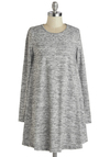 Static Eccentricity Tunic - Long, Knit, Grey, Solid, Casual, Minimal, Tent / Trapeze, Long Sleeve, Crew, Grey, Long Sleeve