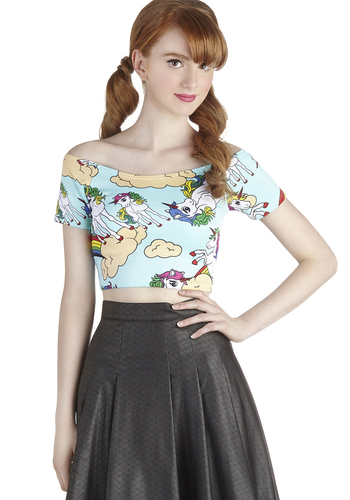 Myth Congeniality Top - Short, Knit, Blue, Print with Animals, Novelty Print, Casual, Quirky, Cropped, Off the Shoulder, Short Sleeves, 90s, Blue, Short Sleeve