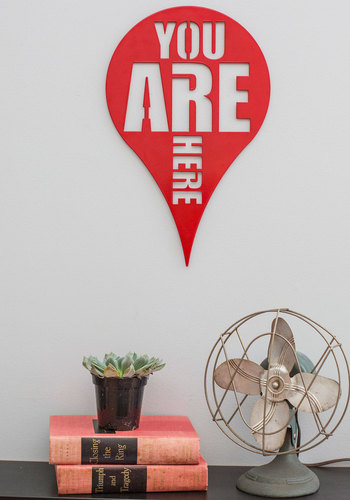 Here and Now Wall Decor - Red, Dorm Decor, Travel, Quirky, Good