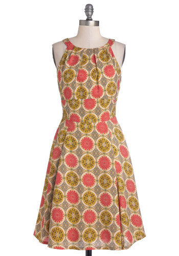 To Florence and Back Dress by Louche - Long, Woven, Green, Pink, Print, Casual, A-line, Sleeveless, Better, International Designer, Scoop, Multi, Tan / Cream, Grey