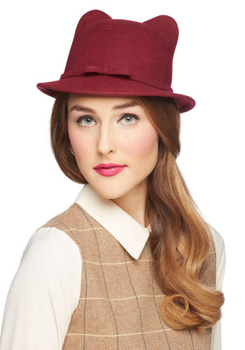 Cat's All She Wrote Hat - Red, Bows, Quirky, Better, Solid, Cats