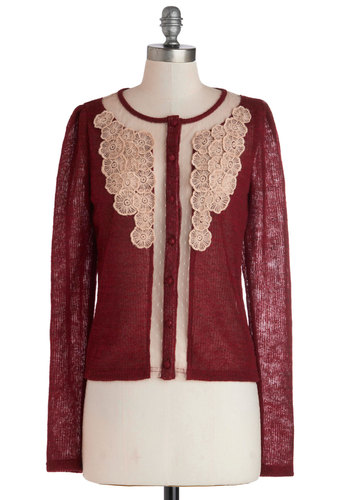 RSV Pleased Cardigan by Ryu - Short, Sheer, Knit, Red, Tan / Cream, Solid, Buttons, Embroidery, Long Sleeve, Crew, Red, Long Sleeve, Holiday, Holiday Party