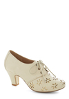 Solar Powerful Heel in Eggshell - Cream, Cutout, Daytime Party, Mid, Good, Lace Up, Exclusives, Gold, Faux Leather, Folk Art