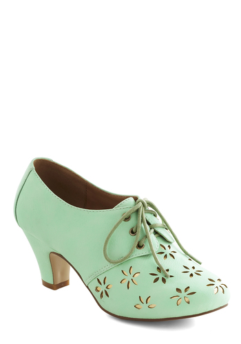 Solar Powerful Heel in Mint - Mint, Gold, Cutout, Daytime Party, Mid, Good, Lace Up, Exclusives, Faux Leather, Folk Art, Pastel, 60s