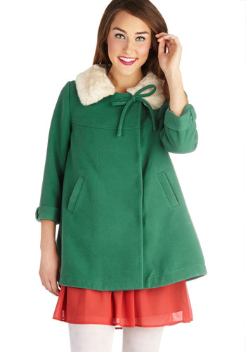 Bustling Through Coat by Darling - Green, Bows, Buttons, Pockets, 3/4 Sleeve, Mid-length, Faux Fur, 3, Solid, Vintage Inspired, 60s, Tent / Trapeze, Fall, Winter, Folk Art, Holiday Party, Green