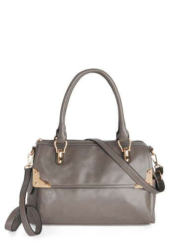 In the Mist of It All Bag by Melie Bianco - Grey, Gold, Solid, Work, Better, Faux Leather