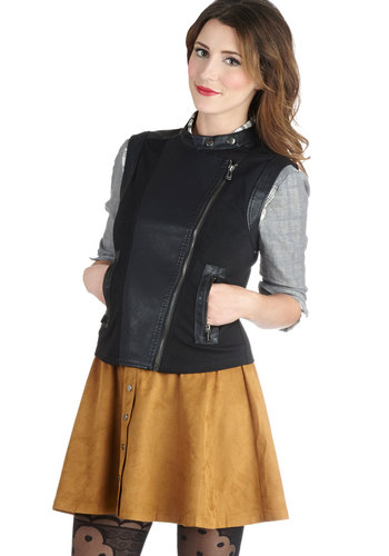 Fashion Rev-olution Vest - Short, Faux Leather, Knit, Black, Solid, Pockets, Urban, Black