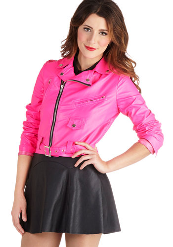 Highlight Up the Night Jacket - Short, Faux Leather, 2, Pink, Solid, Epaulets, Exposed zipper, Pockets, Girls Night Out, Vintage Inspired, 80s, Statement, Neon, Long Sleeve, 90s, Pink