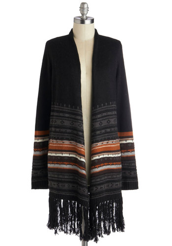 Partner in Climb Cardigan - Black, Orange, Stripes, Fringed, Long Sleeve, Better, Knit, Pockets, Casual, Fall, Folk Art, Black, Long Sleeve