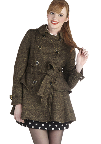 Tarragon to Town Coat by Steve Madden - Long, Green, Solid, Buttons, Epaulets, Pockets, Tiered, Belted, Military, Double Breasted, Long Sleeve, Fall, Winter