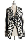 Jetset in Motion Cardigan - Long Sleeve, Better, Mid-length, Knit, Black, White, Print, Casual, Folk Art