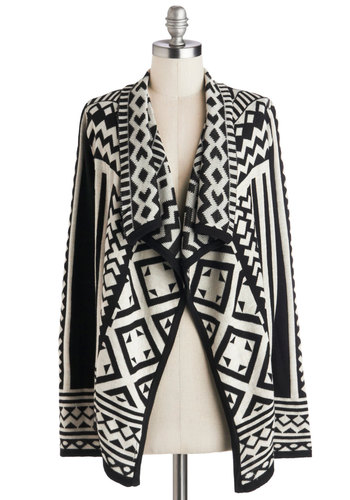 Jetset in Motion Cardigan - Long Sleeve, Better, Knit, Black, White, Print, Casual, Folk Art, Mid-length