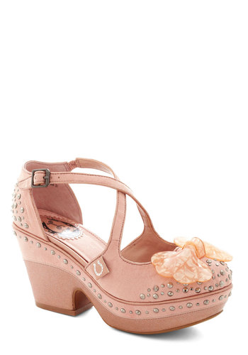 Shine Sprightly Heel by Miss L Fire - Bows, Rhinestones, Trim, Glitter, Platform, International Designer, High, Best, Pink, Solid, Party, Girls Night Out, Pastel, Faux Leather, Chunky heel