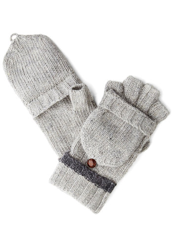 Frosty Fun Convertible Gloves - Grey, Solid, Buttons, Trim, Fall, Winter, Knit