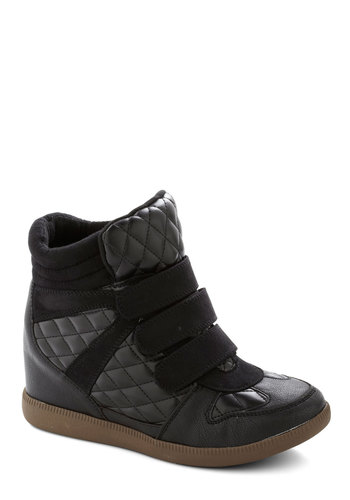 Yes I Glam Wedge - Black, Quilted, Urban, Wedge, Mid, Faux Leather, Better, Solid, 90s