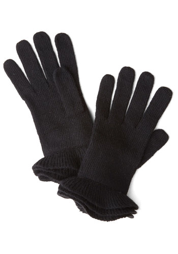 Glove on Top in Black - Black, Solid, Ruffles, Fall, Winter, Variation, Knit
