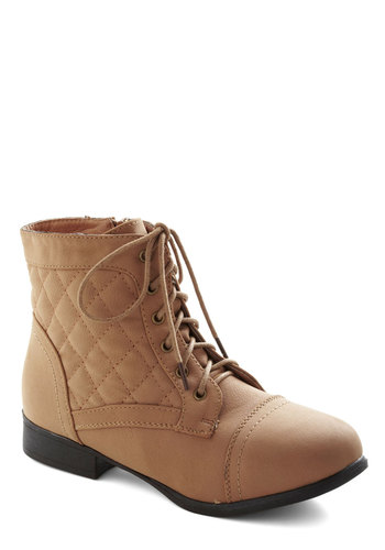 Everything's Up to Gait Boot - Low, Faux Leather, Tan, Solid, Quilted, Safari, Good, Lace Up, Casual