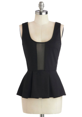 Art Critique Top by Jack by BB Dakota - Mid-length, Sheer, Knit, Black, Solid, Party, Cocktail, Girls Night Out, Peplum, Tank top (2 thick straps), Scoop, Black, Sleeveless