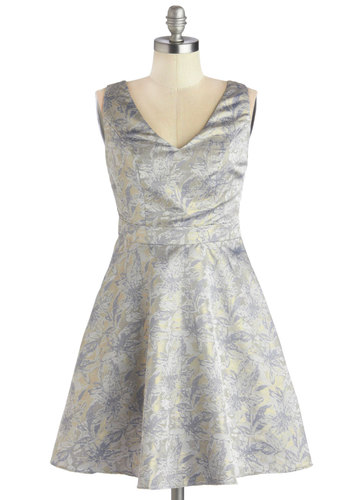 Stop, Look, and Glisten Dress - Blue, Gold, Print, Party, Fit & Flare, Better, V Neck, Woven, Mid-length, Grey, Bows, Luxe