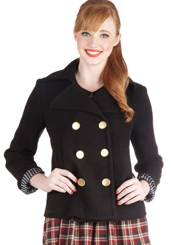 Ferry Queene Coat - Black, Buttons, Long Sleeve, Good, 3, Pockets, Scholastic/Collegiate, Double Breasted, Fall, Winter, Black, Mid-length