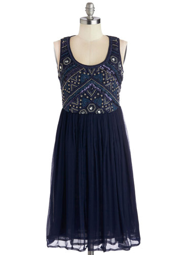 Embellishment to Be Dress in Navy - Mid-length, Woven, Blue, Beads, Sequins, Cocktail, A-line, Tank top (2 thick straps), Better, Scoop, Pleats, Party, Holiday Party, Vintage Inspired, 20s, Luxe, Variation, 30s