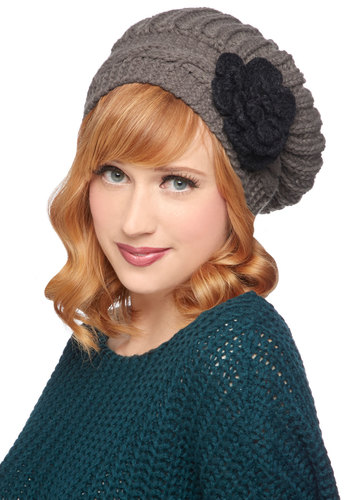 Coffeehouse Party Hat - Grey, Black, Solid, Flower, Knitted, Fall, Winter, Better, Knit