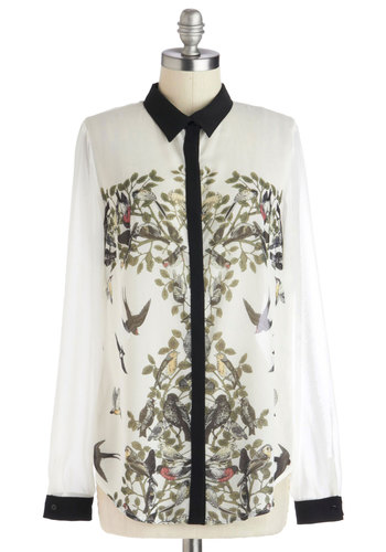 Wing Your Praises Top by Louche - Sheer, Mid-length, White, Black, Multi, Print with Animals, Button Down, Long Sleeve, Collared