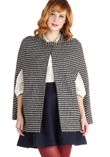 Plethora of Poise Cape - Black, Checkered / Gingham, Good, Woven, Mid-length, 1, Pockets, Vintage Inspired, Fall, Black