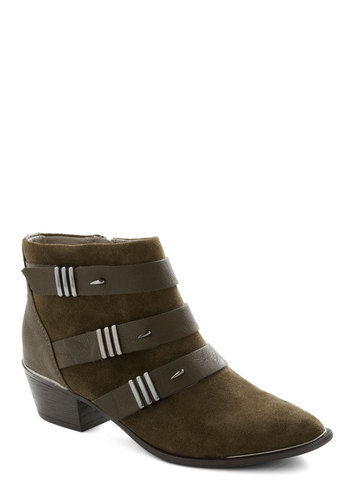 The Dark Night Bootie in Moss - Mid, Leather, Suede, Green, Better, Solid, Variation, Military