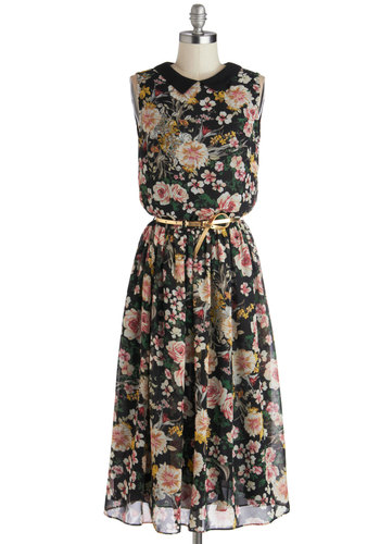 Bursting with Blossoms Dress by Louche - Long, Chiffon, Woven, Black, Multi, Floral, Belted, Daytime Party, A-line, Sleeveless, Better, Collared, Peter Pan Collar
