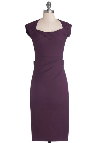 Tea Time After Time Dress in Violet by Stop Staring! - Long, Woven, Purple, Solid, Bows, Cutout, Ruching, Work, Sheath / Shift, Cap Sleeves, Better, Cocktail, Pinup, Vintage Inspired, 40s, 50s, Variation