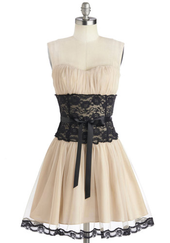 Storied Romance Dress in Champagne - Short, Woven, Cream, Black, Lace, Belted, Cocktail, Fit & Flare, Strapless, Good, Sweetheart, Ruching, Variation, Folk Art