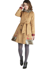 Traveler's Treasure Coat by Blutsgeschwister - Long, Faux Fur, 3, Tan, Red, Print, Buttons, Embroidery, Pockets, Belted, Long Sleeve, Winter, Folk Art