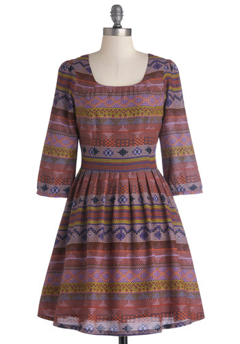 Refreshing Respite Dress - Mid-length, Cotton, Woven, Purple, Multi, Print, Pleats, Casual, A-line, 3/4 Sleeve, Better, Scoop, Fall, Folk Art, Winter